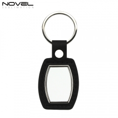 New Sublimation Blank PU Leather Metal Rectangle Keychain