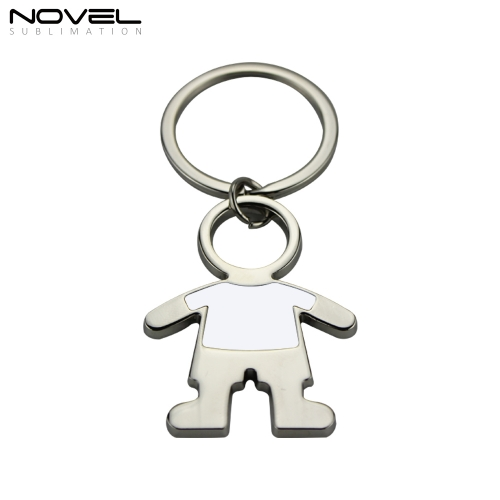 Fashion Design Boy shape Metal Sublimation Blank Keychain for Return Gifts