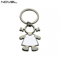 2019 Fashion Design Girl shape Metal Sublimation Blank Keychain