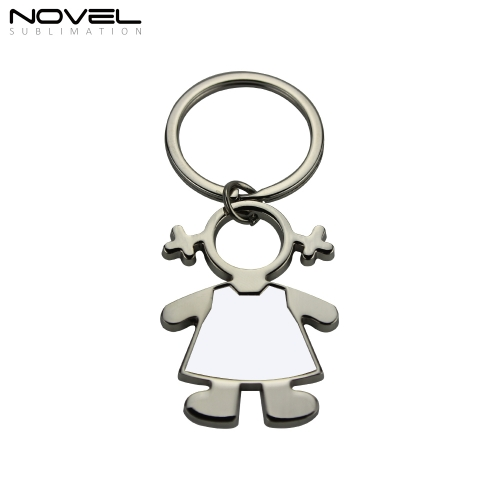 Fashion Cute Design Girl shape Metal Sublimation Blank Keychain 2020