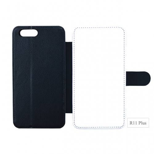 Double Protection Blank Sublimation PU leather Phone Case For OPPO R11 Plus