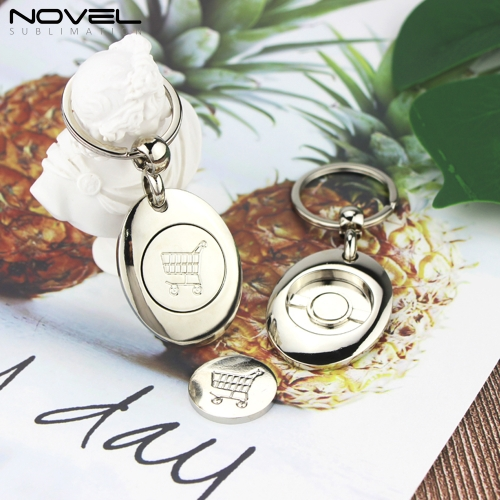 2020 Fashion Design Metal Sublimation Blank Token Portable Keychain