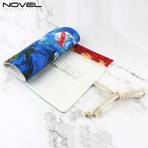 Fashion Convenient  Custom Printing Blank Rolling Pencil Bag