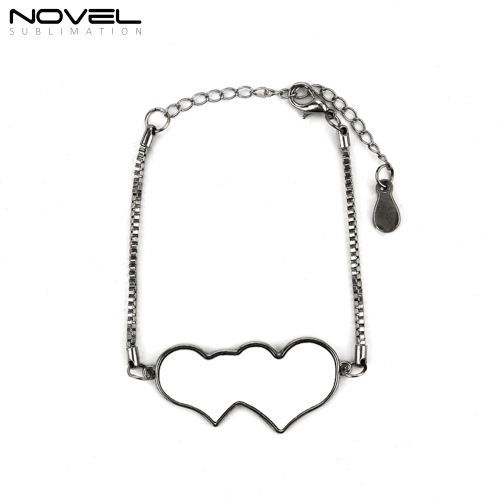 Custom Design Blank Fashionable Sublimation Heart to Heart bracelet