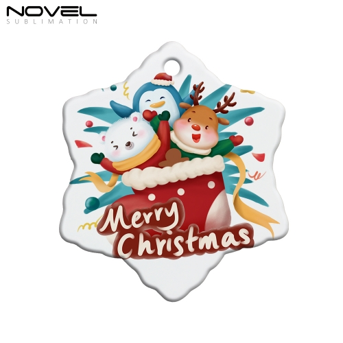 Customized Blank Sublimation Printing Ceramics Christmas Tree Star Ornament