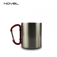 300ml Stainless Steel Sublimation Blank Cup Mug With Red Carabiner Handle