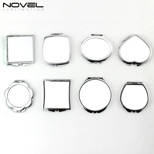 Wholesale Sublimation Blank Stainless Steel Mini Makeup Mirror with White Plate