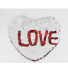 Fashion Sublimation Double Printable Short Plush Magic Sequins Heart Pillow Cover
