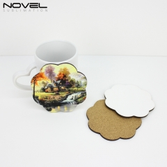 Sublimation Blank DIY Customized MDF Coaster Flower Hardboard Coaster