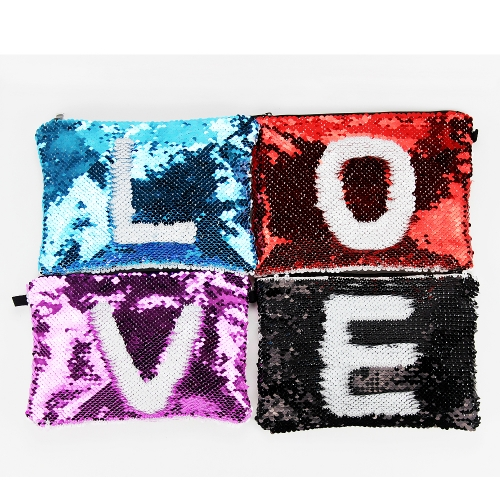 New Arrival DIY Pattern Blank Sublimation Magic Sequin Cosmetic bag
