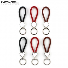 New Arrival Fashionable Hanging PU Rope Keychain Round Keyring