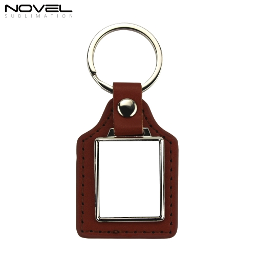New Fashionable Custom Metal Rectangle Blank PU Leather Keychain