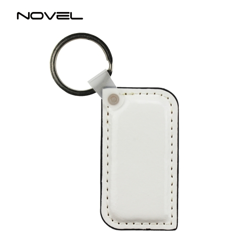Popular DIY Sublimation Blank Double Side Printing PU Leather Keychain