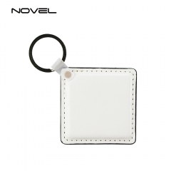 Personality Fashion Sublimation Blank Square PU Leather Keychain