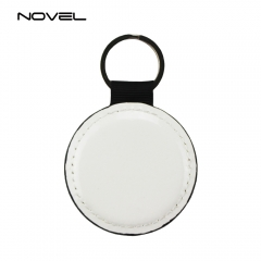 High Quality Double Side Printing Blank Round PU Leather Keychain