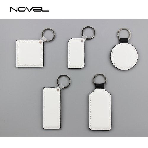 DIY Printing Double Side Printing Blank PU Leather Keychains
