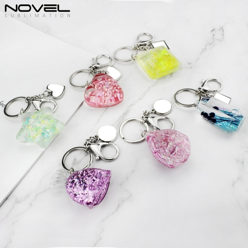 New Personality Fashion Quicksand Metal Keychain Blank Keyrings