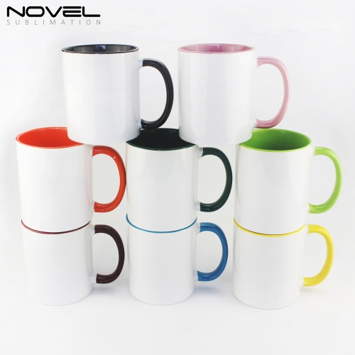 High Quality Sublimation White Blank 11oz fringe and inside color mug