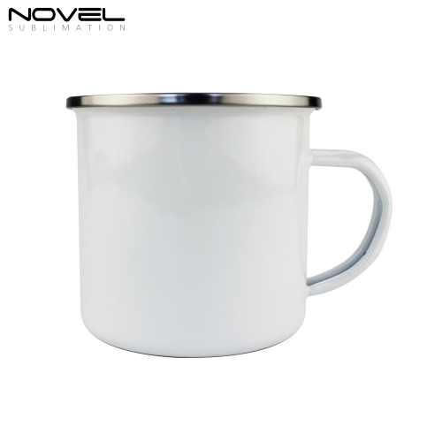 Fashionable White DIY Printing Enamel Mug with Stainless Steel Rim