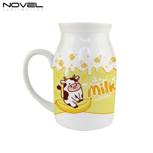 Personality Sublimation Blank Print New Milk Ceramic Mug 450ml