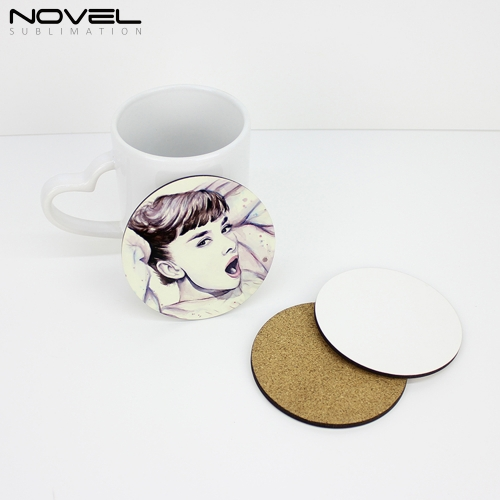 Sublimation DIY Blank Cheap MDF Round Cork Backed Coaster
