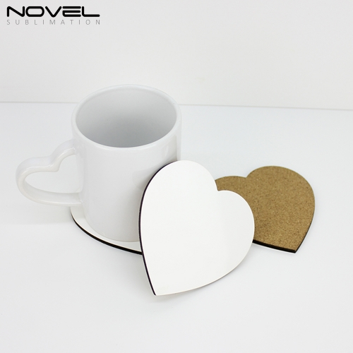 Sublimation Blank DIY Customized MDF Coaster Heart Shape Coaster