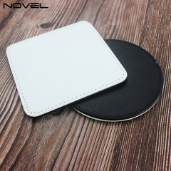 High Quality Diy Pattern Sublimation Blank PU Leather Coaster