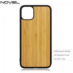 Custom 2D TPU Blank Bamboo Wood Phone Case For iPhone 11 Pro
