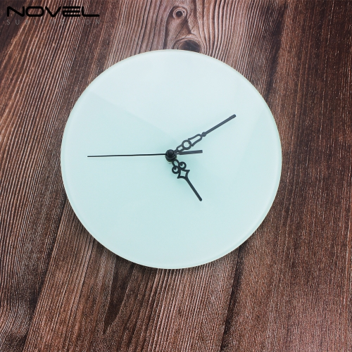 Custom Design Sublimation Blank Transparent Round Glass Clock