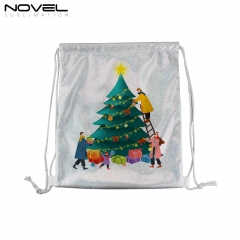New Arrival Sublimation Blank Glittery Drawstring Backpack