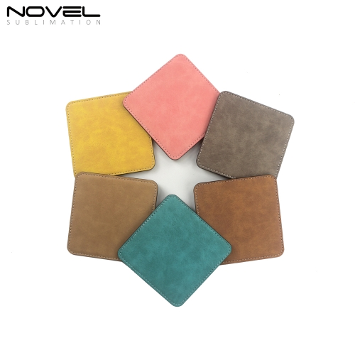 Houseware One Side Printable Colorful PU Coaster Square Shape