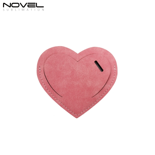 New Arrival Blank Sublimation Colorful Heart PU  Luggage Tag