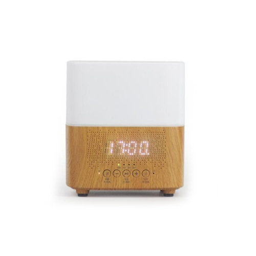 Wooden Grain Air Humidifier Aroma Diffuser with Bluetooth Speaker LED Clock Display