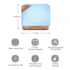 700ml Essential Oil Diffuser 7 Color LED Light Water Mist Diffuser