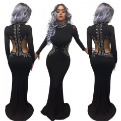 Black nightclub loin gauze stitching Printing dress