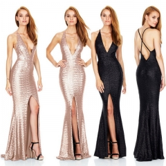 Black sequined evening dress maxi dress Sling deep V dress