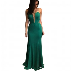 Green sexy deep V mesh fishtail big swing evening dress