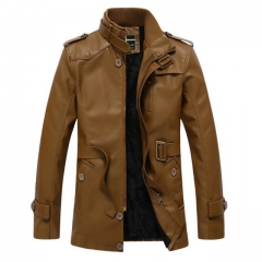 Men's PU Leather Long Jacket Leather Jacket
