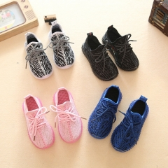 Spring new fashion children's coconut shoes boys and girls soft bottom Korean sports laces lights