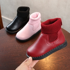 New autumn and winter girls boots socks shoes plus velvet cotton boots