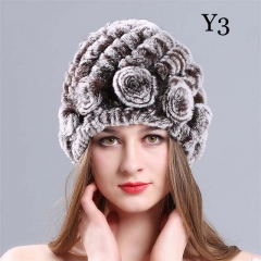 New Women's Braided Rabbit Fur Thicken Warm Pineapple Cap