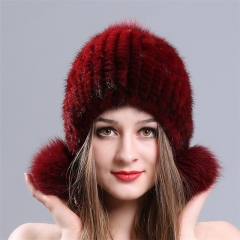 Ladies warm fashion winter fox ball cap