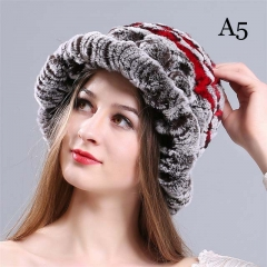 New rex rabbit fur woven flower hat
