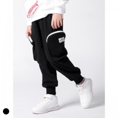 Boy's solid color beam foot elastic harem pants
