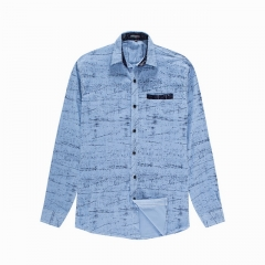 New men's printed cotton long-sleeved elastic shirt
