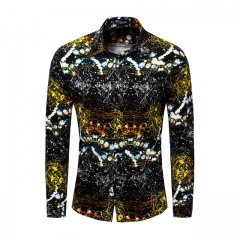 New cotton long sleeve gold colorful shirt