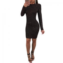 Women's fashion openwork hip long sleeve dress