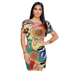 Women's classic retro color print dress