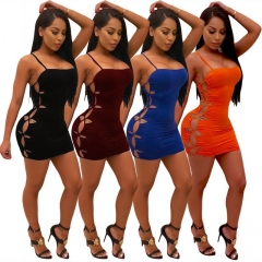 Women's nightclub style tight-fitting strap dress