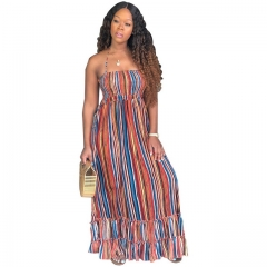 Women's Halter Halter Striped Chest Loose Dress